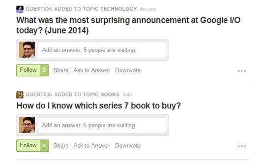 "Quora 會呈現""有多少人在等待其解答""的資訊,來促進其他使用者回答。"