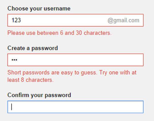 Gmail 的表格
