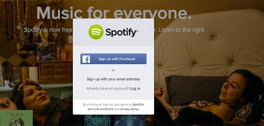 你可以使用 Facebook 登入 Spotify