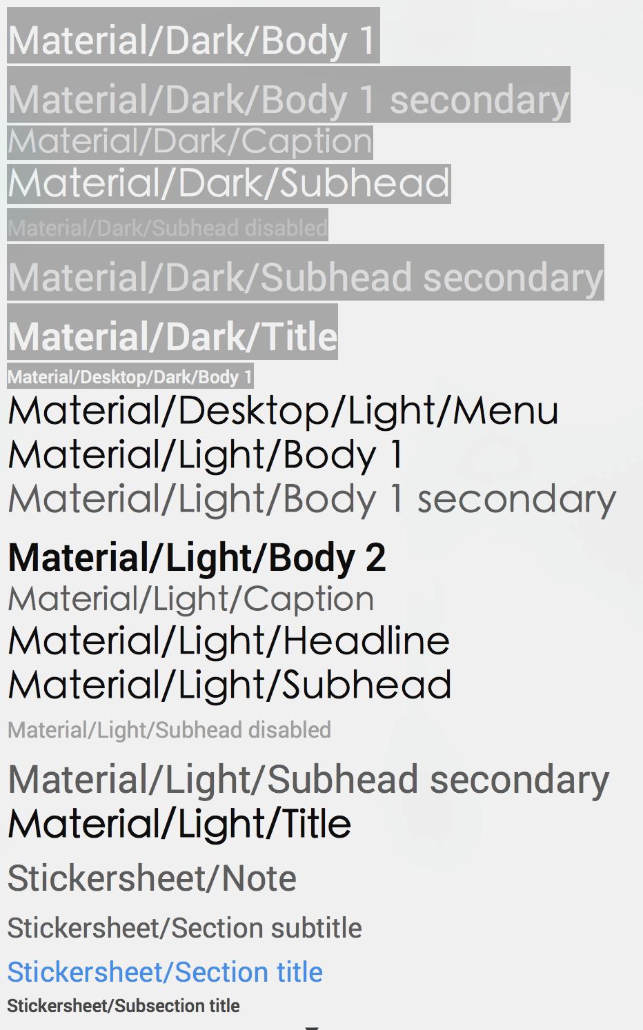 Material Design 的各種字體大小