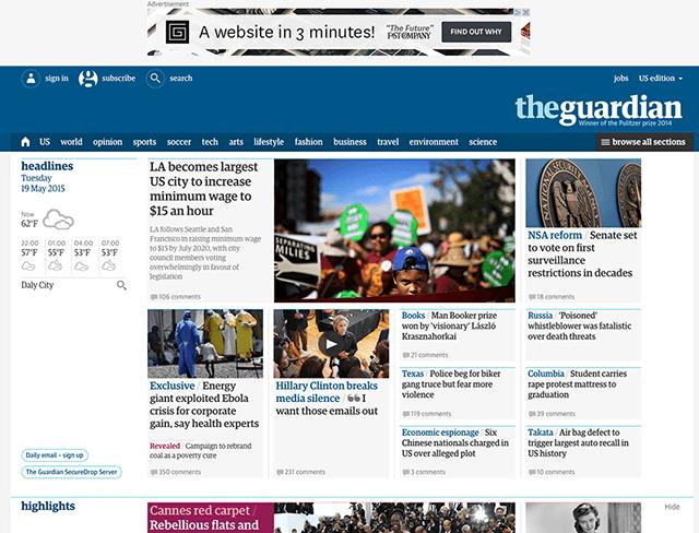 網頁設計趨勢 | Photo credit: The Guardian
