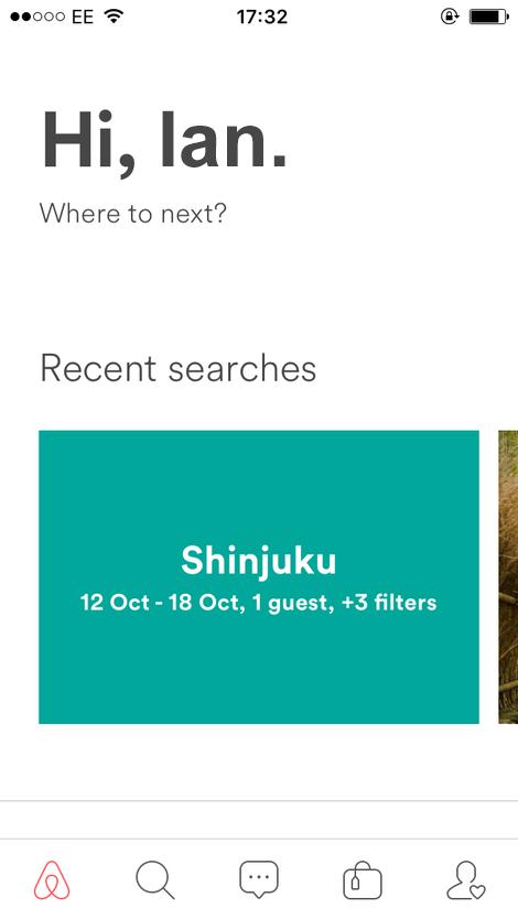 airbnb app Navigation UI